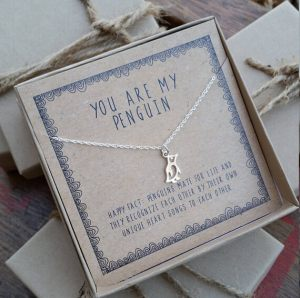 READY 2 SHIP you are my penguin necklace . silver layering necklace . Valentine's gift for girlfriend gift for wife . Anniversary Gift