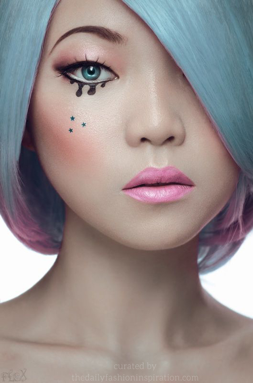 blue hair ombre pink