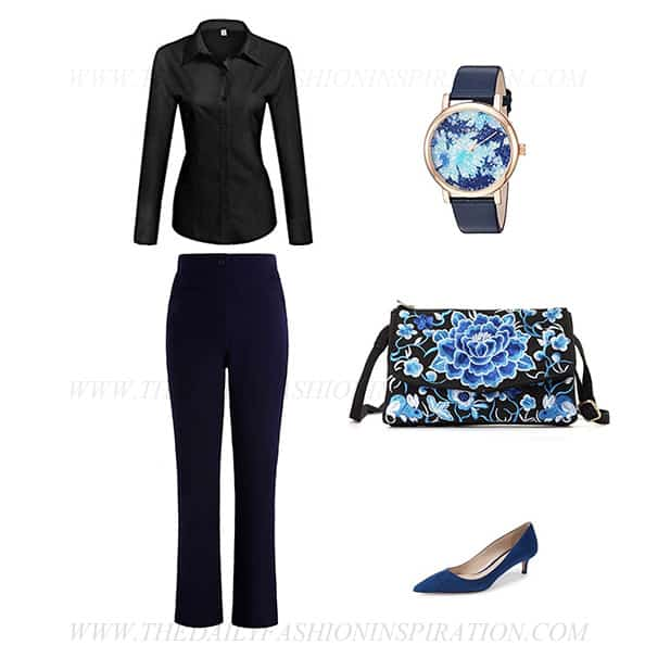 business casual black blouse pants outfit women