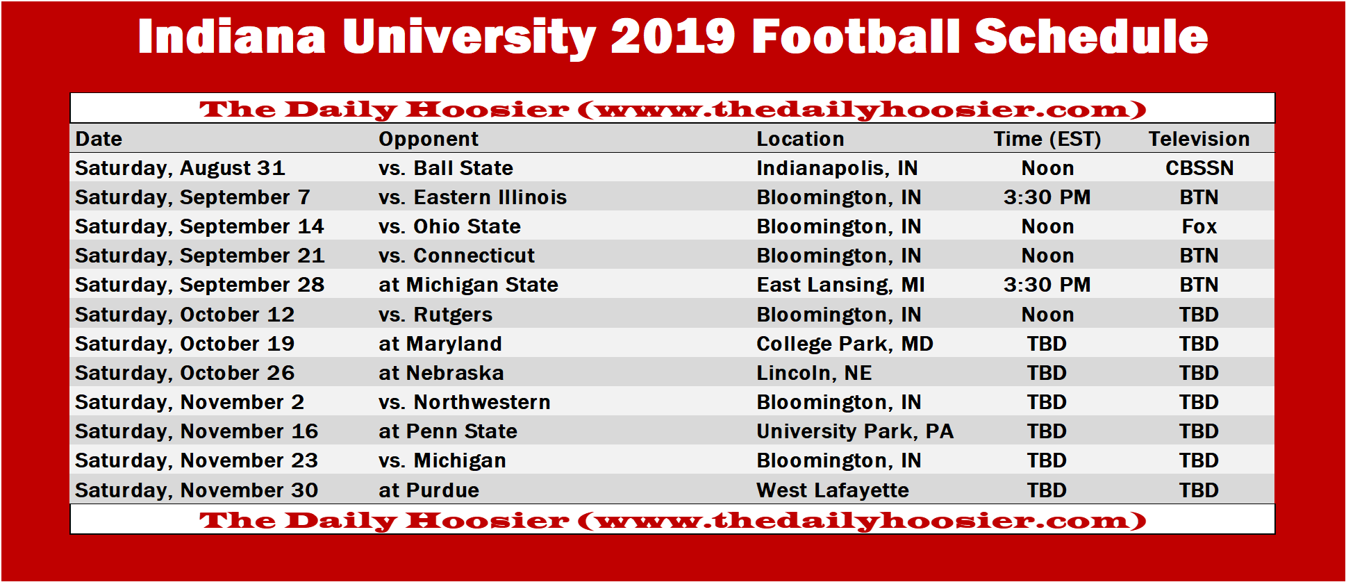IUFB Printable Schedule 2019