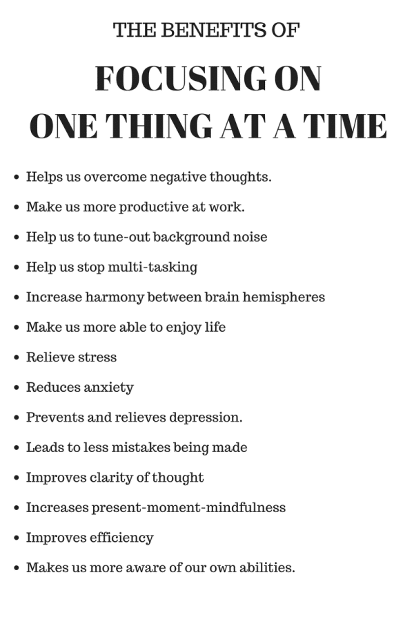 benefits of focusing on one thing at a time