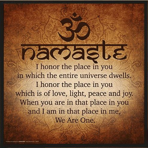 namaste yoga decor with the word namaste translated into English