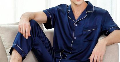 men's nightdress silk pajama