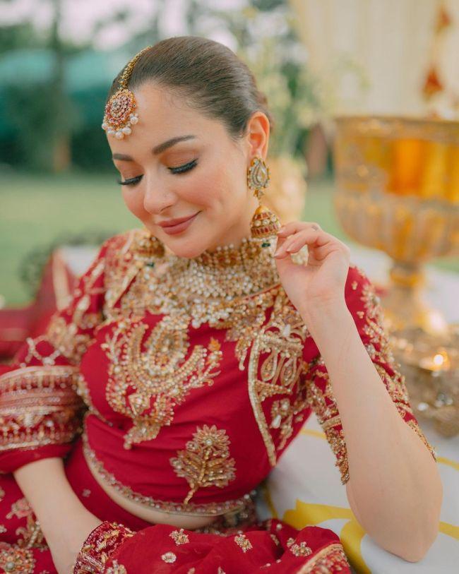Hania Amir Bridal Photoshoot Red Dress