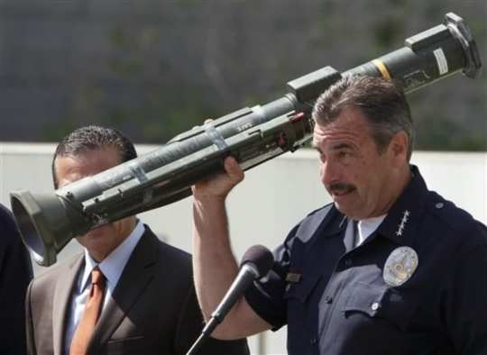 LAPD Charlie Beck with Inoperable AT-4 Grenade Launcher