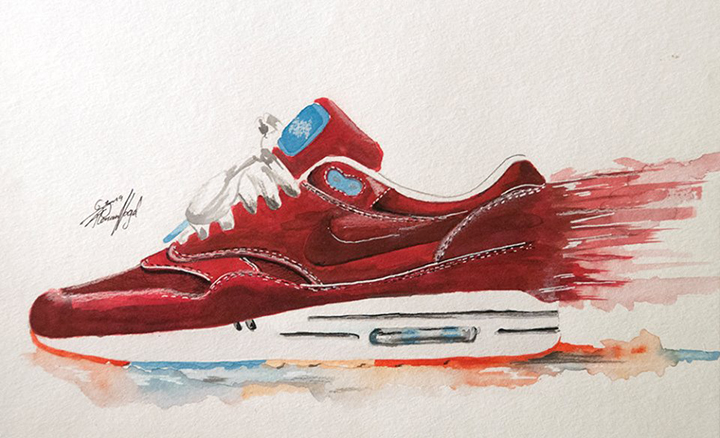 Nike Air Max 1 sneaker watercolour painting by Achildcolor 005