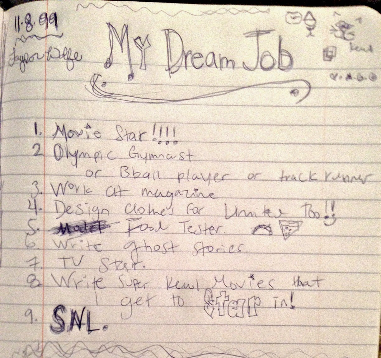 my dream job writing