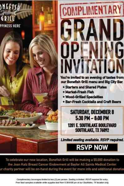Bonefish Southlake Invites You to their Grand Opening