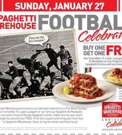 Free Lasagne or Spaghetti at Spaghetti Warehouse on January 27th