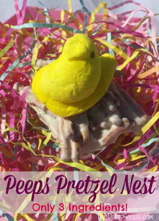 Easy Easter Treat - Peeps Pretzel Nest with only 3 ingredients!