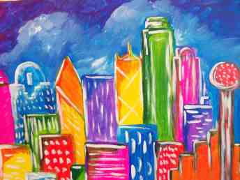 Big D - Dallas Skyline Painting at Pinots Palette Lakewood