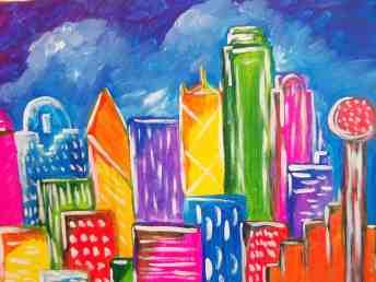 Big D - Dallas Skyline Painting at Pinots Palette Lakewood