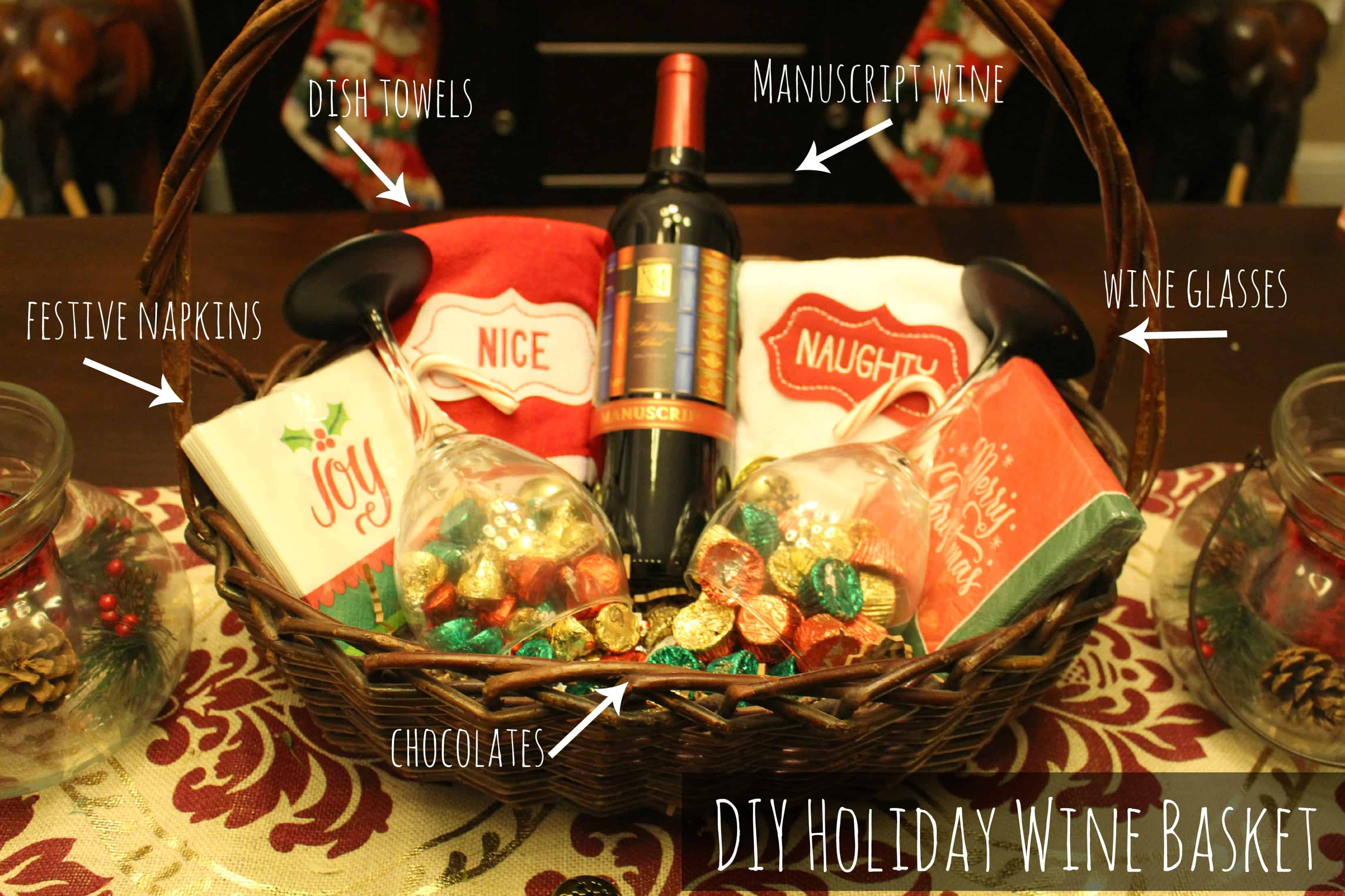 making a holiday wine basket can be as simple or as intricate as you want it