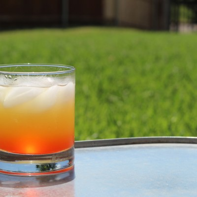 Tropical Coconut Sunrise Made with Moonshine