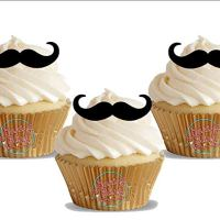 Moustache 12 Standup Edible Premium Wafer Paper Cake Toppers Decoration 12 X 55Mm