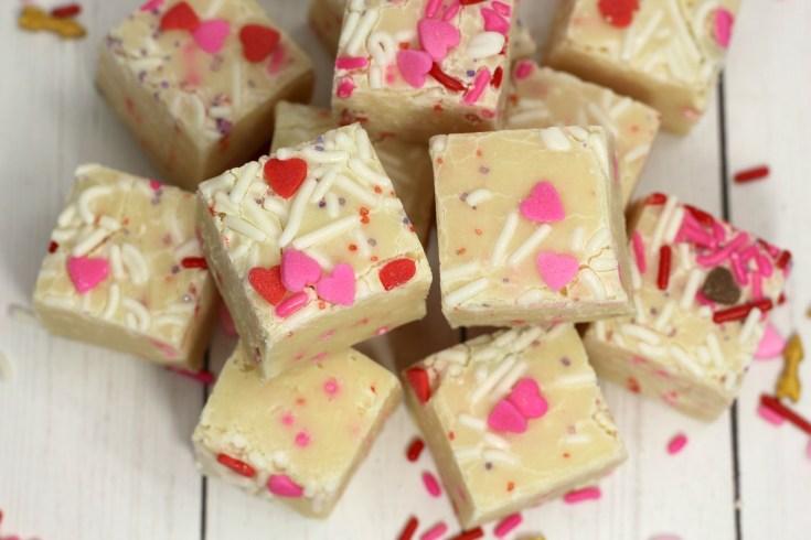 Valentine's Day Cake Batter Fudge