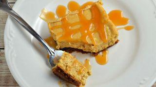 Caramel Pumpkin Cheesecake Bars (with a Gluten Free Option)