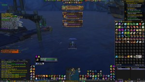 Screenshot of Warlock in Wow Fishing up mounts.