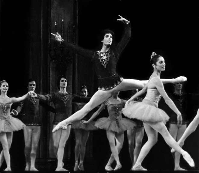 Steven Caras with NYCB, Tschaikovsky Suite No. 3, early 1970's, Susan Pillae in foreground, photograph by Costas *Choreography depicted in this image is copyrighted by The George Balanchine Trust