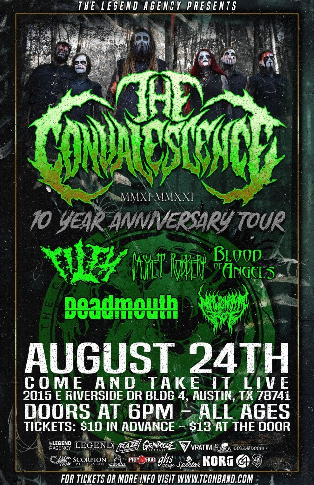 The Convalescence, Filth, Casket Robbery, Blood of Angels and more at Come and Take It Live