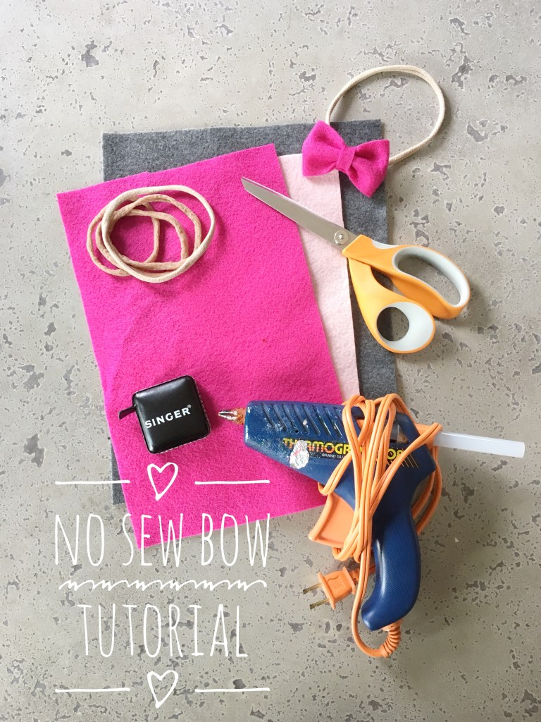 Supplies for no sew felt bow