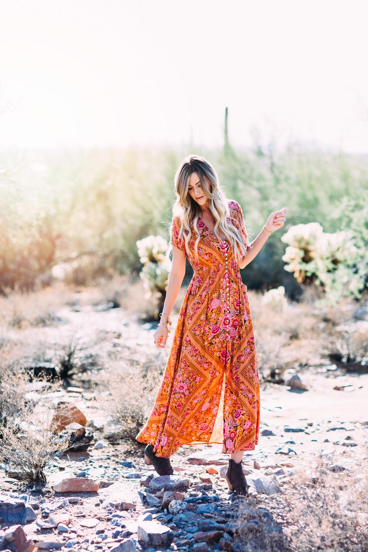 Desert Bohemian Vintage Floral Summer Maxi Dress