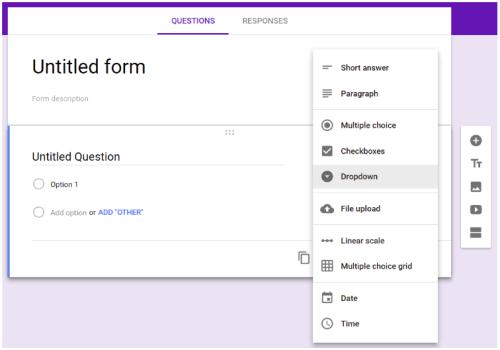 screenshot of a blank Google Form