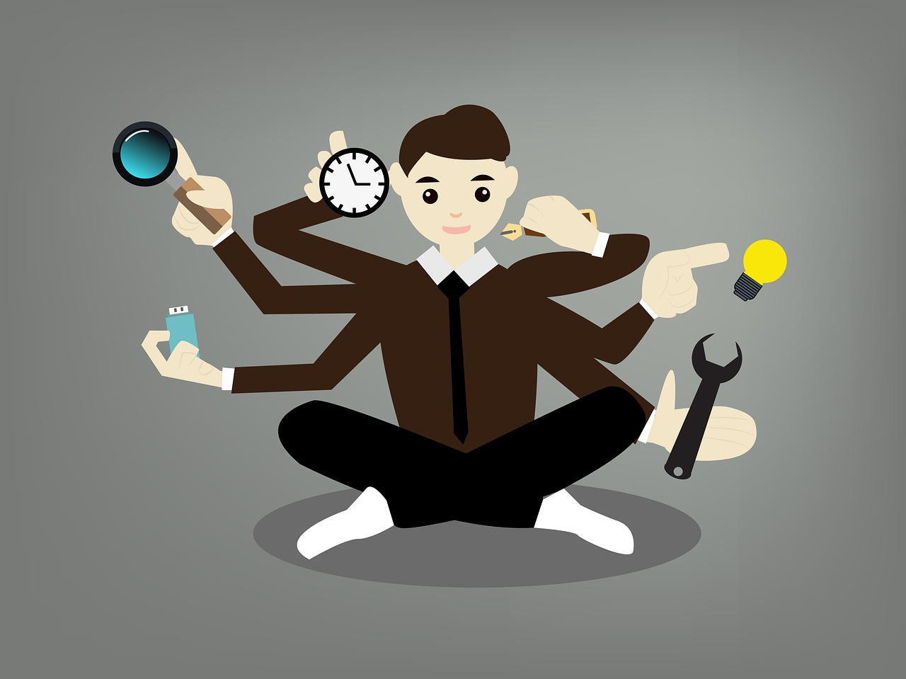 person with extra arms to perform many tasks