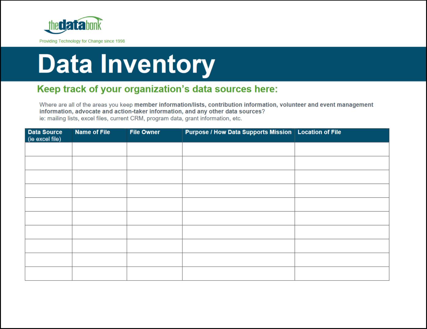 Data Inventory Worksheet