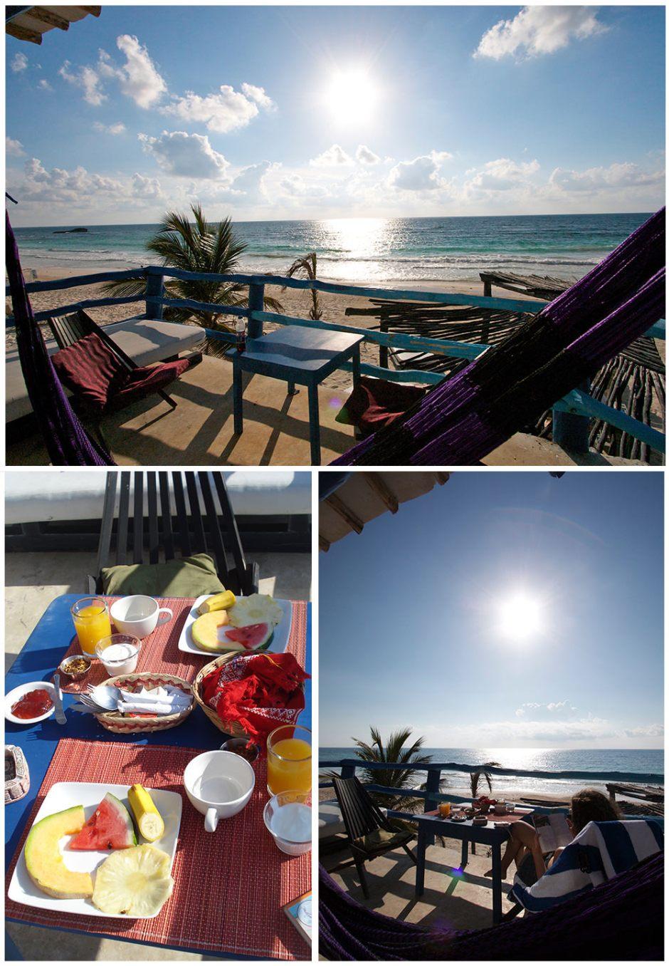 Petite déjeuner à l'hôtel Posada Lamar de Tulum au Mexique, Péninsule du Yucatan