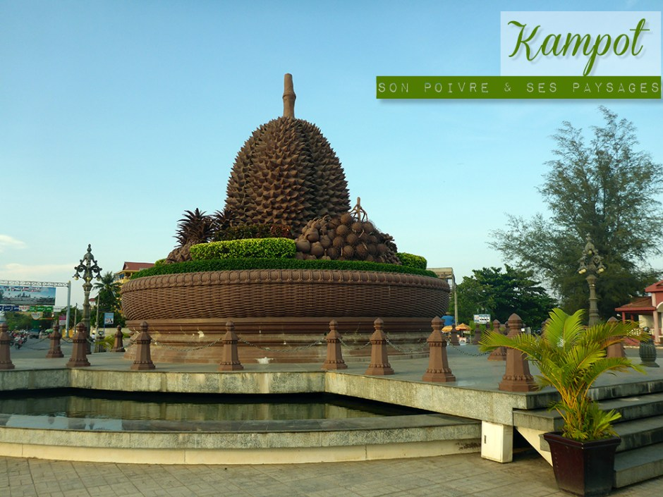 Rond point Durian, Kampot, Cambodge