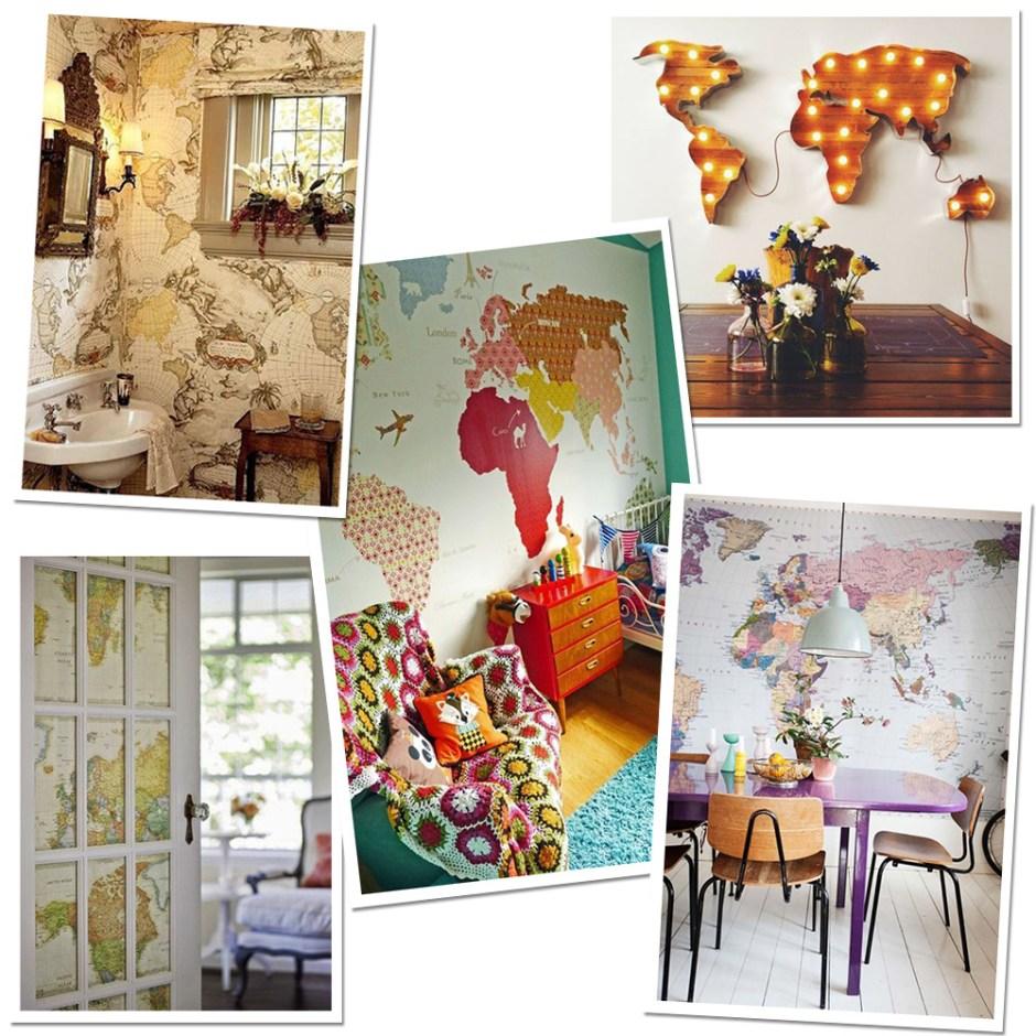 Idée de décoration voyage pour sa maison avec des cartes du monde au mur