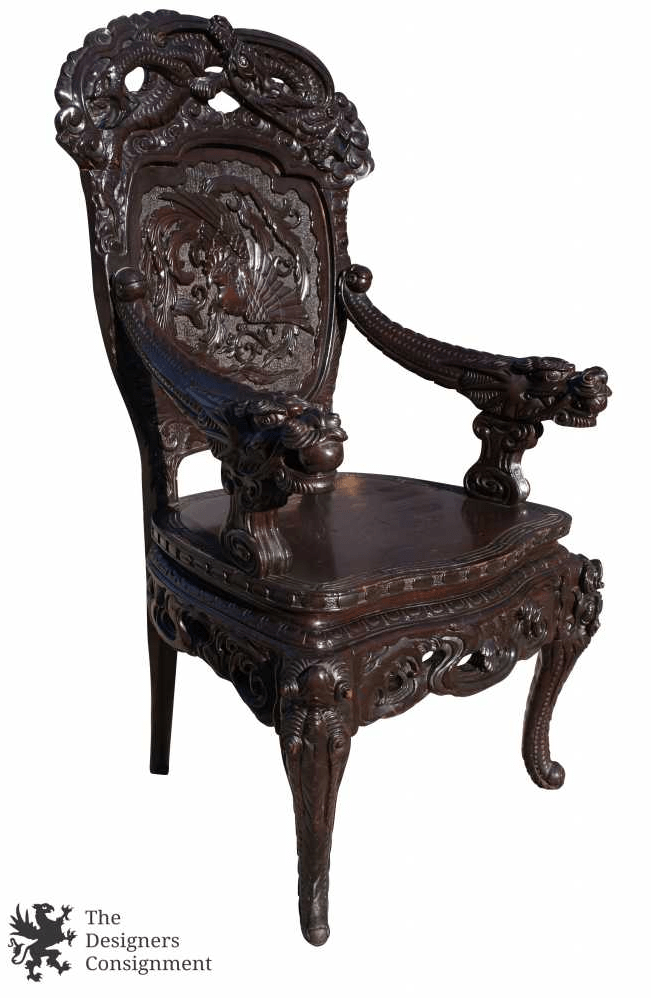 antique chinese dragon chair minimalist office the designers consignment dayton s premier gallery export high relief rosewood carved arm throne