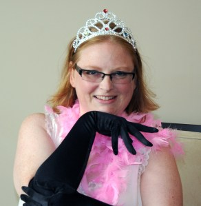 Joanne in gloves and Tiara