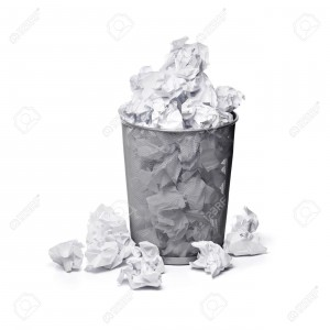 What my trashcan would look like while writing a first draft, if I used a typewriter.
