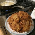 The smell of fried oil from making latkes