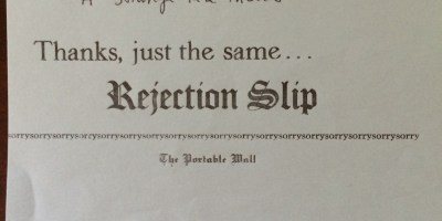 One of Jennifer S. Brown's rejection slips for a short story