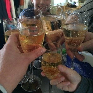Champagne (and sparkling apple juice) to celebrate launch)