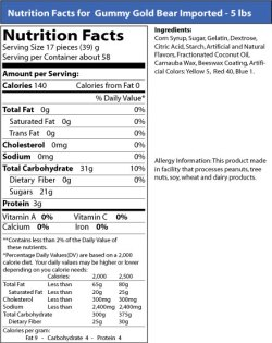 Nutrition facts for Haribo gummy bears
