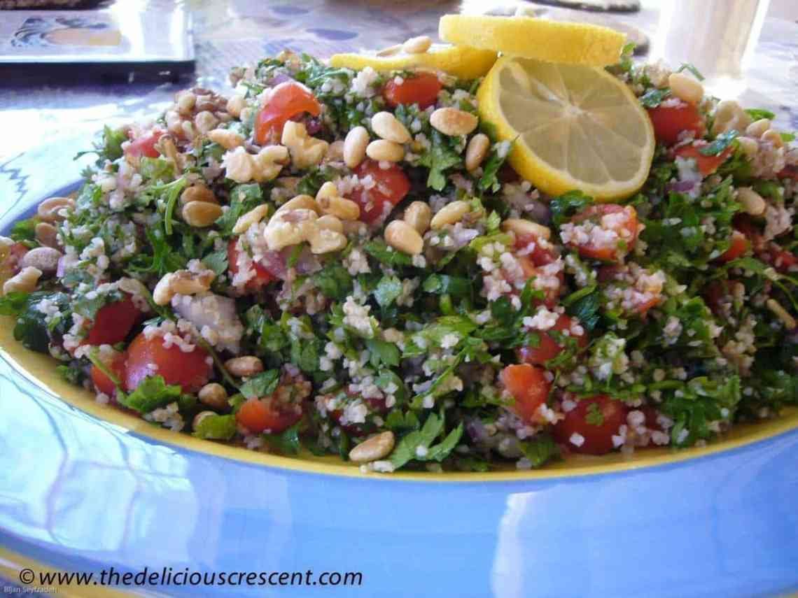 Tabbouleh salad with pine nuts is a vegetarian dish of the eastern Mediterranean region. This raw salad is so light, lemony, minty, delicious and refreshing.