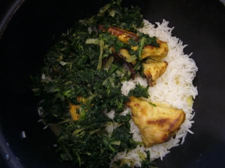 Saffron Yogurt Rice with Spinach and Prunes Directions