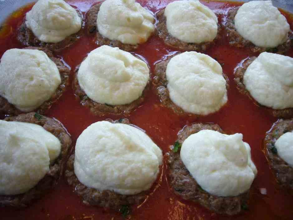 Creamy Cauliflower Stuffed Meatballs Prep