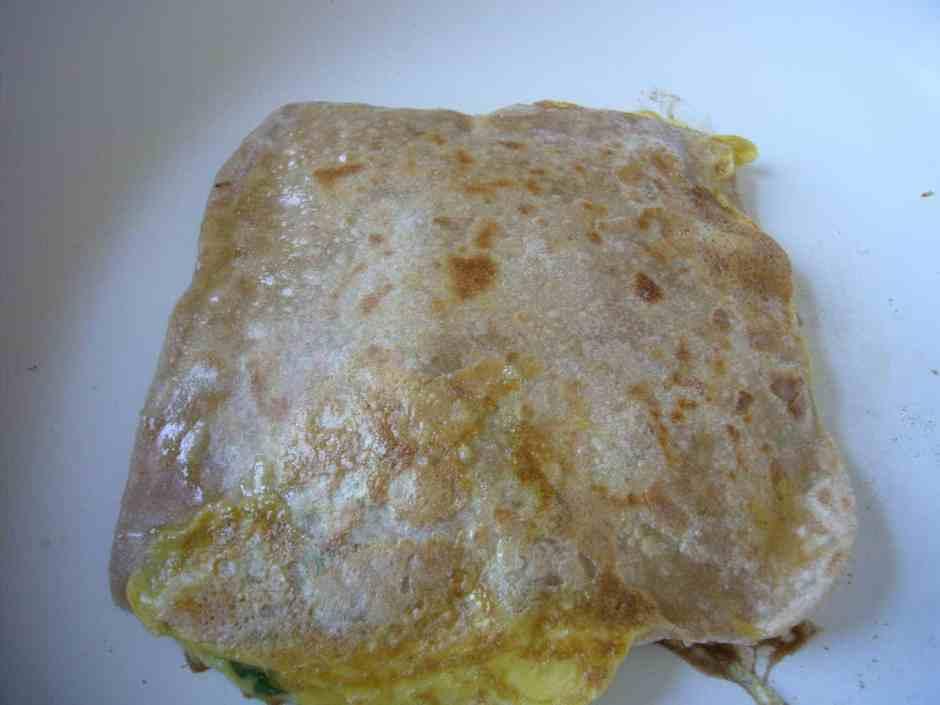 Omelette Stuffed Paratha Prep