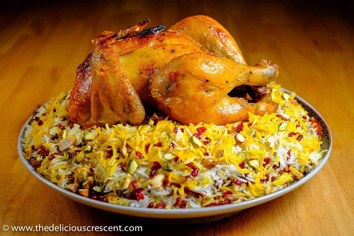 Barberry Quinoa Rice with Saffron Chicken