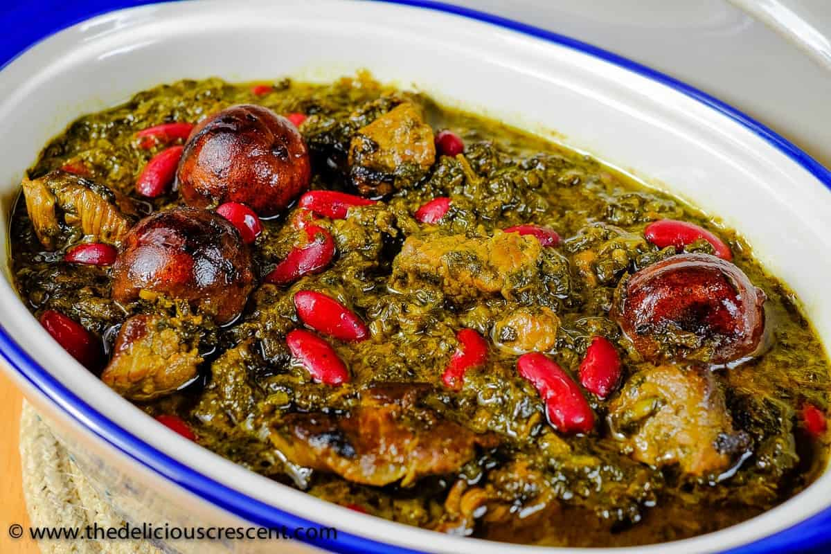 Persian Fresh Herb Stew with Meat and Kidney Beans