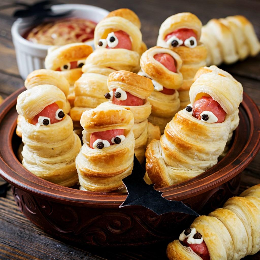 Mummy Hotdogs for Halloween