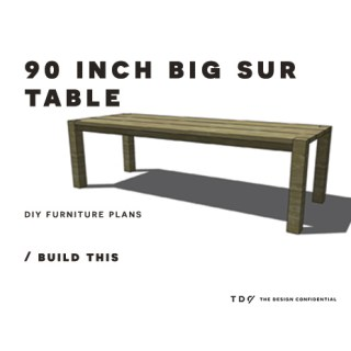 You Can Build This! Easy DIY Furniture Plans from The Design Confidential with Complete Instructions on How to Build a 90 Inch Big Sur Table via @thedesconf