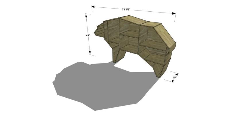 Dimensions for The Design Confidential Free DIY Furniture Plans // How to Build a Polar Bear Bookshelf