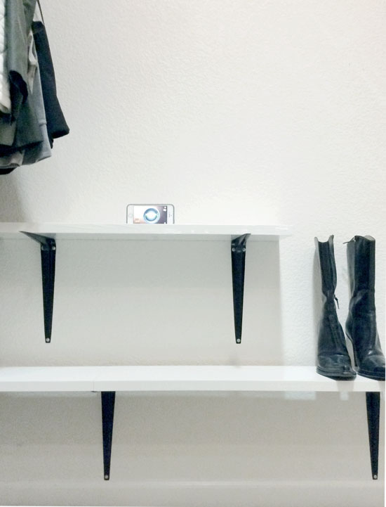 Second Shelf Install for The Design Confidential DIY Just Add Shelves Easy DIY Shelving For Stylish Shoe Storage