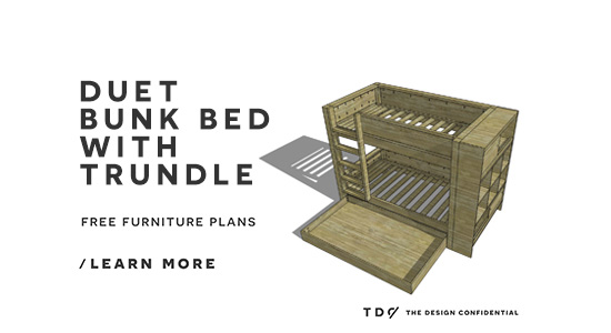 Popular Free DIY Furniture Plans How to Build a Duet Bunk Bed